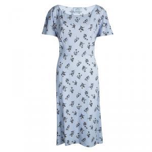 Prada Powder Blue Floral Printed Short Sleeve Dress L