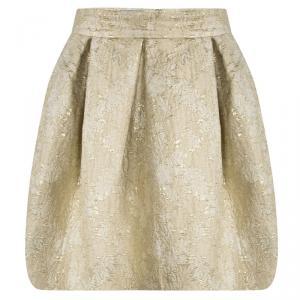 Prada Beige Floral Jacquard Pleated Mini Skirt M