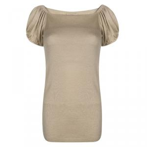 Prada Beige Knit Gathered Short Sleeve Top M