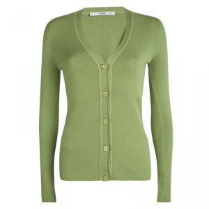 Prada Green Button Front Long Sleeve Cardigan M