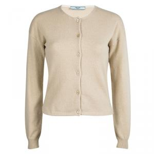 Prada Beige Contrast Piping Detail Long Sleeve Button Front Cardigan S