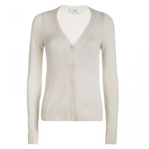 Prada Cream Knit Contrast Elbow Patch Detail Button Front Cardigan S
