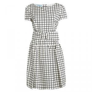 Prada Monochrome Checked Silk Belted Dress M