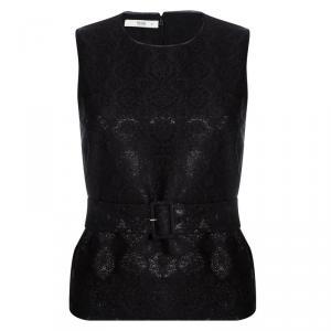 Prada Black Floral Lurex Jacquard Knit Belted Sleeveless Top S