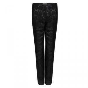 Prada Black Floral Lurex Jacquard Knit Trousres S