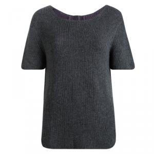 Prada Grey Cashmere Short Sleeve Sweater M