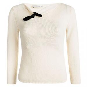 Prada Cream Contrast Bow Detail Sweater S
