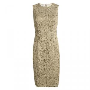 Prada Gold Lace Sleeveless Sheath Dress S