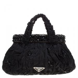 Prada Black Nylon Gaufre Bright Evening Bag
