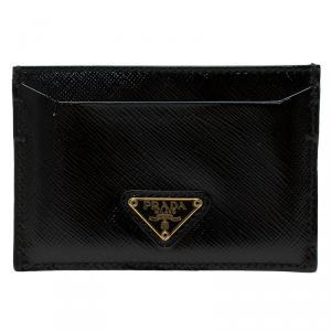 Prada Black Saffiano Patent Leather Card Holder