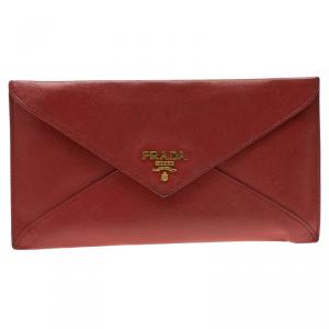 Prada Red Saffiano Leather Envelope Wallet