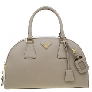 Prada Beige/White Saffiano Lux Leather Bowler Bag