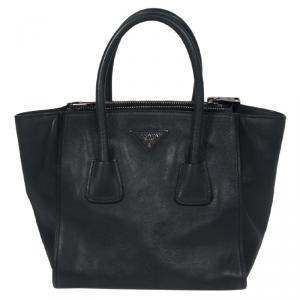 Prada Black Glace Calfskin Leather Twin Pocket Double Handle Tote