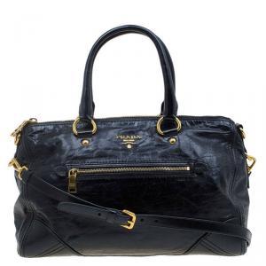 Prada Black Vitello Shine Leather East West Bauletto Bag
