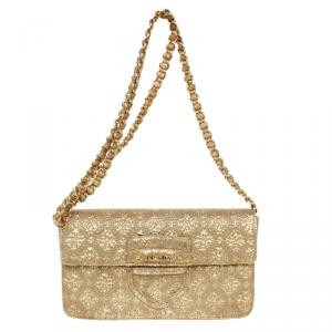 Prada Gold Broccato Corda CL Shoulder Bag With Chain