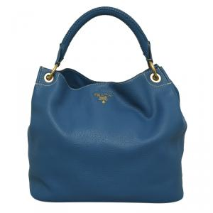 Prada Marine Blue Vitello Daino Leather Hobo