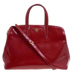 Prada Red Spazzolato Leather Double Zip Top Handle Bag
