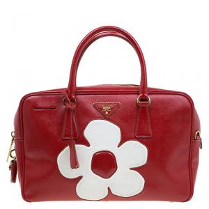 Prada Red and White Saffiano Vernice Patent Leather Bauletto Flower Top handle Bag
