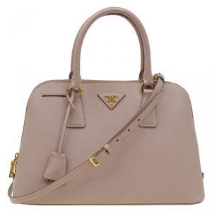 Prada Nude Saffiano Lux Leather Medium Promenade Top Handle Bag
