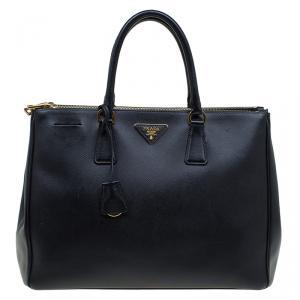 Prada Black Saffiano Leather Large Double Zip Tote