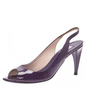 Prada Purple Patent Vernice Peep Toe Slingback Sandals Size 37