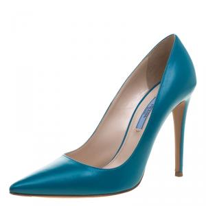 Prada Teal  Leather Pointed Toe Pumps Size 39.5