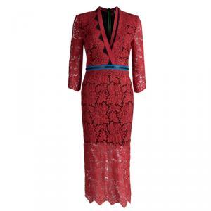 Preen by Thornton Bregazzi Red Lace Contrast Zipper Trim Detail Dress S