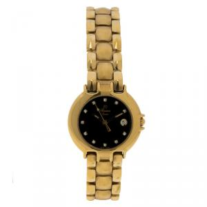 Rama Swiss Black Gold-Plated Stainless Steel Women's Wristwatch 26MM