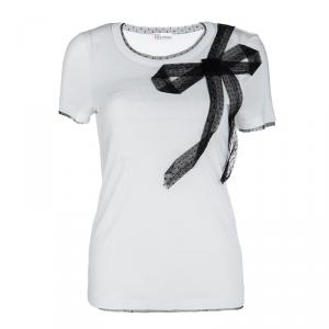 RED Valentino White Contrast Mesh Bow Detail T-Shirt M