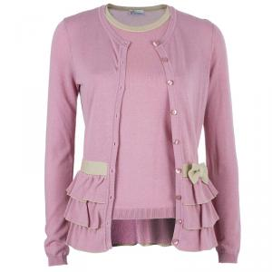 RED Valentino Pink Knit Top And Cardigan Set M