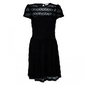 RED Valentino Black Lace Short Sleeve Dress M
