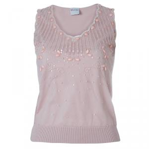Red Valentino Pink Embellished Mesh Overlay Sleeveless Knit Top M