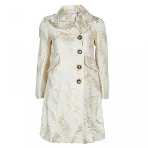 Red Valentino Cream and Gold Bow Detail Overcoat S