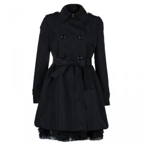 RED Valentino Black Double Breasted Lace Underlay Belted Trench Coat M