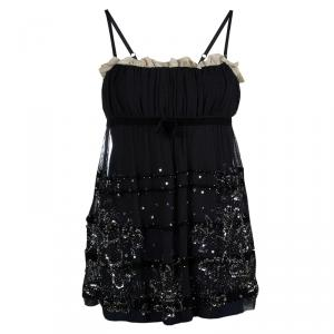 RED Valentino Black Sequinned Mesh Camisole M