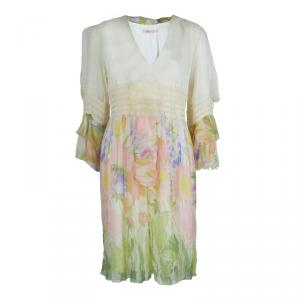 Red Valentino Multicolor Floral Printed Chiffon Smocking Detail Long Sleeve Dress M