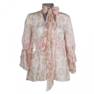 Red Valentino Blush Pink Polka Dot Print Crinkled Chiffon Smocking Detail Sheer Blouse M