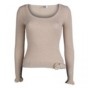 RED Valentino Beige Lurex Rib Knit Bow Detail Fitted Sweater M