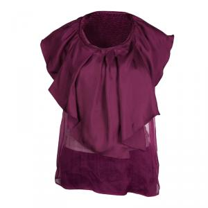 Red Valentino Burgundy Ruffle Overlay Sheer Top M