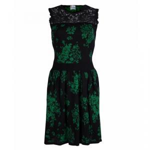 Red Valentino Black Jacquard Knit Lace Trim Sleeveless Dress M