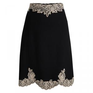 RED Valentino Black Wool Scallop Lace Detail Skirt S