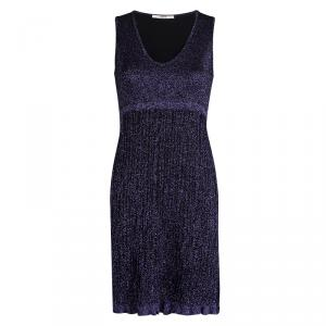 Red Valentino Purple Lurex Knit Sleeveless Dress M