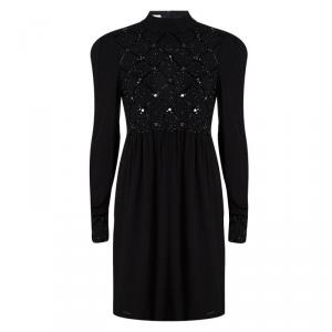Red Valentino Black Embellished Mandarin Collar Long Sleeve Dress M