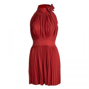 Red Valentino Red Pleated Neck Tie Detail Sleeveless Dress M
