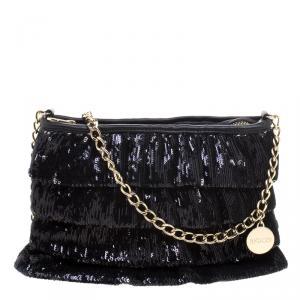 RED Valentino Black Ruffle Sequins Shoulder Bag