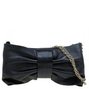 Red Valentino Black Leather Bow Chain Clutch