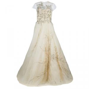 Reem Acra Beige Tulle Embellished Gown M