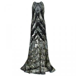 Reem Acra Black Sequin Embellished Gown