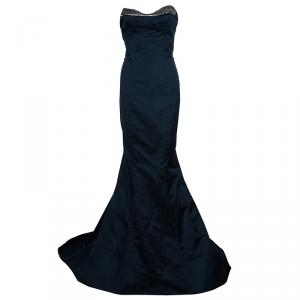 Reem Acra Navy Blue Strapless Silk Gown