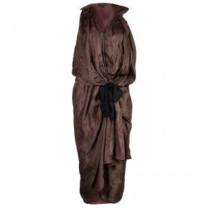 Reem Acra Brown Printed Silk Draped Sleeveless Dress M